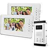 """Immagine di LIBO 7""""Sistema Videocitofonico Cablato 2 Monitor Due Pulsanti Chiamata con Visione Notturna, Can Control 2 Alloggiato per multi Appartamento/Famiglie"""