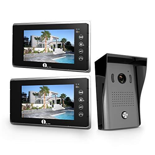 Immagine di 1byone Videocitofono a 2 Cavi, Citofono Interfono Schermo a Colori da 7 pollici Videocitofono con Camera HD e Cavo da 49ft (15m), Campanello per Montaggio in Esterno