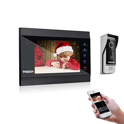Immagine di TMEZON Wifi Sistema Videocitofonico Con Citofono, Monitor Wireless Da 7 Pollici Con Telecamera Esterna Cablata, Registrazione e Istantanea