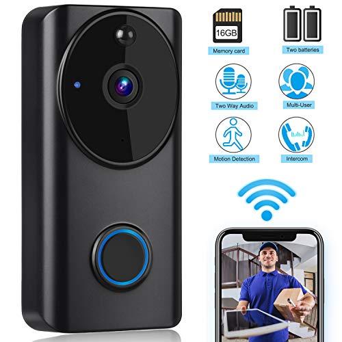 Immagine di Klug - Videocitofono wireless, 720P HD 166 gradi, funzione interfono, sensore di movimento PIR, telecomando app per iOS e Android