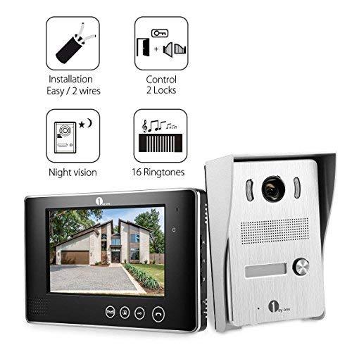 Immagine di 1byone Videocitofono a colori da 7 pollici, Kit per Videocitofono con 2 cavi, 1 Monitor Video per Interno e 1 Telecamera da Esterno