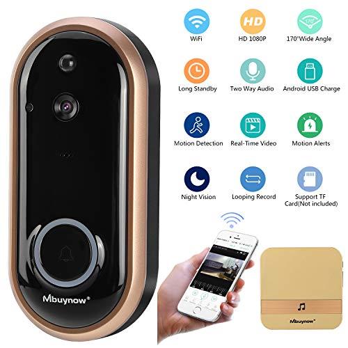 Immagine di Video Campanello wireless, Mbuynow Videocitofono Senza Fili 1080P HD Audio Bidirezionale, Peephole Door Camera 170 Gradi Grandangolare, Sensore di Movimento, Visione Notturna, Archiviazione in Cloud