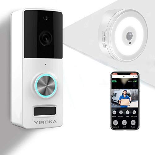 Immagine di YIROKA Videocitofono WiFi di Sicurezza, Campanello per Videocamera Senza Filli 1080P HD, Audio a 2 Vie, Impermeabile IP65, Rilevamento PIR, Grandangolo 166°, con Ricevitore da Interno Luce Notturna