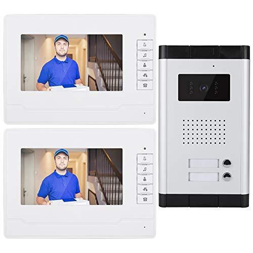 Immagine di Campanello Video, Videocitofono HD 7 Pollici Campanello Intelligente Videocitofono Antipioggia Videocitofono Campanello Per Videocitofono Con Visione Notturna(UE 110-240 V.)