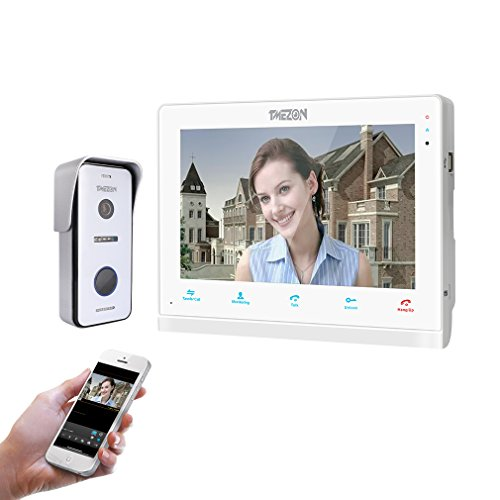 Immagine di TMEZON IP Wifi Videocitofono Intercom, 10 pollici Monitor touch-screen,720P Campanello Telecamera cablata Visore notturno,conversazione/visualizzazione,salvataggio,monitor/istantaneo via smartphone