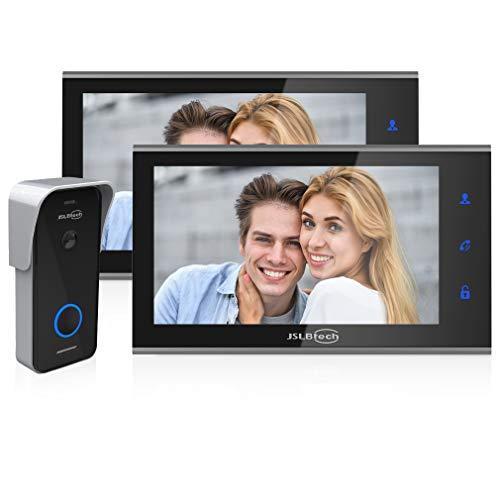 """Immagine di JSLBtech Videocitofono Campanello Video 7"""" IPS FHD Monitor con Versione Notturna a Infrarossi, Supporto Sblocco Remoto, Registrazione, Istantanea, Cornice per Foto, 1-Telecamera 2-Monitors"""