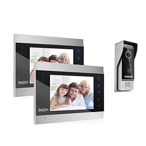 Immagine di TMEZON Videocitofono Video Door Phone,2x7 pollici LCD Touch Screen Monitor,1200TVL Campanello Telecamera Vista Notturna,Resistente all'acqua,Audio Bidirezionale,Supporto Registrazione/Istantanea