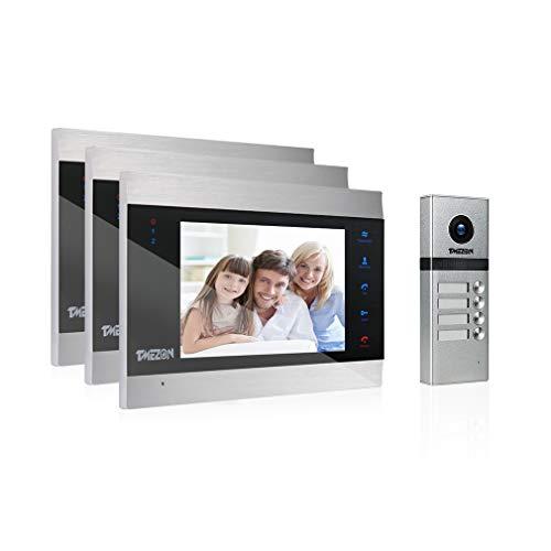 Immagine di Kit Videocitofono 4 Fili per plurifamiglia/Bifamiliare,TMEZON 3 * 7'' Monitor LCD touchscreen con Campanello 1200TVL cablato, Bidirezionale,Registrazione/Istantaneo, visione notturna, IP55