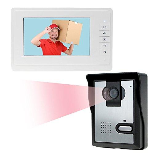 """Immagine di LIBO 7"""" Videocitofono domestico cablato Citofono IR Visione notturna 25 Suonerie IP54 Impermeabile per sistema di ingresso serratura"""