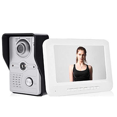 Immagine di Videocitofono, Video Campanello, Citofono Videocitofono, 7 pollici con visione notturna, impermeabile, chiamata, citofono, sblocco, sorveglianza, funzione interna citofono(EU)