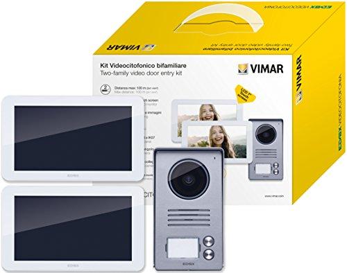 """Immagine di Vimar K40916 Kit Videocitofono 7"""" Touch Screen Bifamiliare con Alimentatore Multispina, Grigio la Targa Esterna-Bianco Il Monitor"""