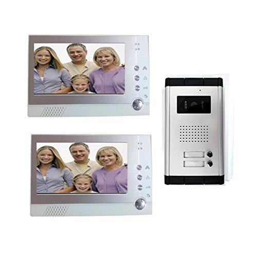 Immagine di Videocitofono 2 monitor registra kit bifamiliare telecamera ir 7 pollici memory MWS