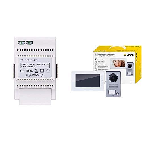 Immagine di Vimar 40103 Alimentatore per Videocitofono, Installazione su Guida DIN (60715 Th35), 3 Moduli, Bianco & K40910 Kit Videocitofono Monofamiliare da Parete, Grigio la Targa e Bianco Il Monitor