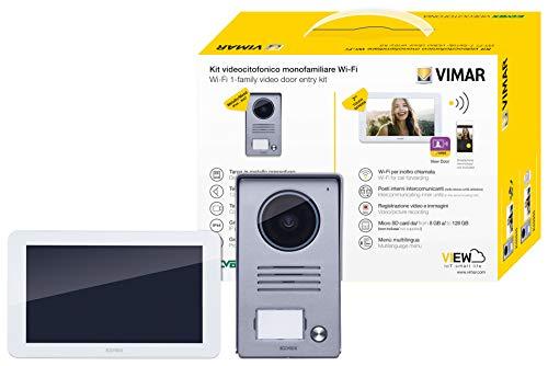 Immagine di Vimar K40945 Kit videocitofono smart monofamiliare con monitor touch screen vivavoce WiFi , targa audiovideo 1 pulsante con cornice parapioggia, 1 alimentatore multispina
