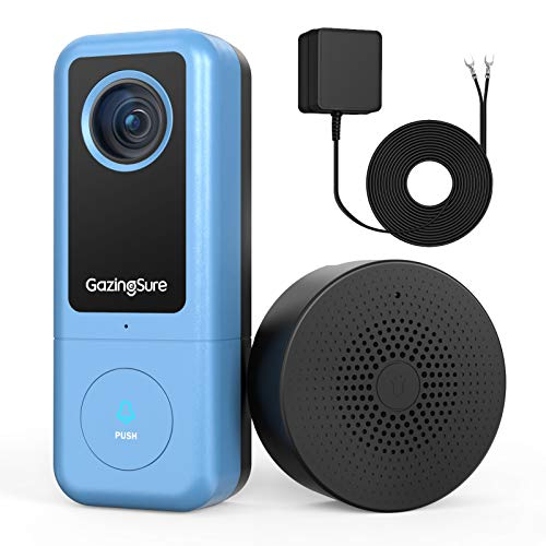 Immagine di GazingSure Videocitofono WiFi, 2K QUAD HD, citofono con campanello, zona di rilevamento intelligente, funziona con Alexa, archiviazione su cloud/scheda SD