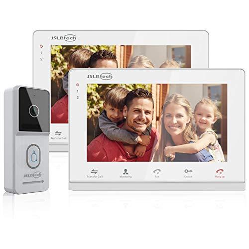 Immagine di JSLBTech Videocitofono Campanello,4-Fili 2x7'' Monitor Cablata Video Citofoni Versione Notturna Infrarossi,Doppia Suoneria, Supporto Sblocco Remoto, Monitoraggio, Registrazione/Istantanea