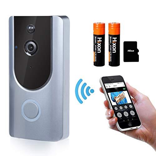 Immagine di Videocitofono Campanello Wireless Senza Fili Impermeabile 720P HD Camera Remoto Controllo Audio Bi-Direzione con Carta 16G e Batteria Ricaricabile LED Indicatore