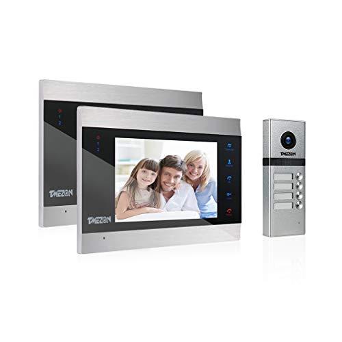 Immagine di Kit Videocitofono 4 Fili per plurifamiglia/Bifamiliare,TMEZON 2 * 7'' Monitor LCD touchscreen con Campanello 1200TVL cablato, Bidirezionale,Registrazione/Istantaneo, visione notturna, IP55