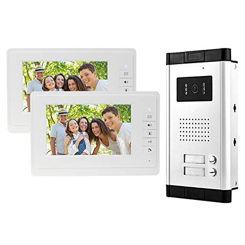 Immagine di uoweky Videocitofono IR da 7 '' Videocitofono a Colori via Cavo a Colori Telecamera per Visione Notturna IR + Schermi di Controllo Interni per Reparto 2/3 (2 Appartamento)