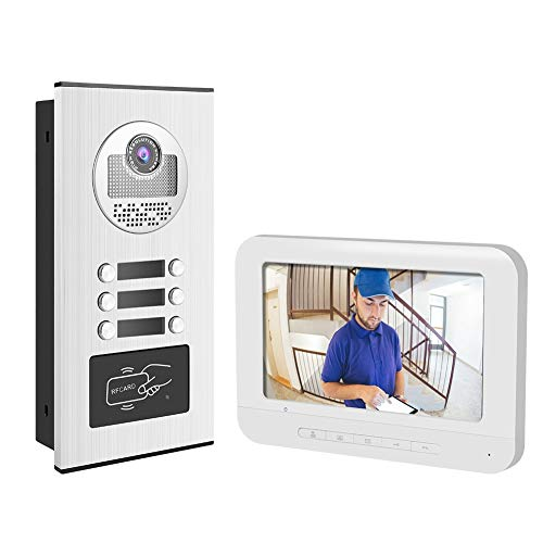 Immagine di Campanello digitale 7 pollici Videocitofono Campanello Videocitofono RFID Camera 3 Appartamenti per la casa(EU(100-240v))