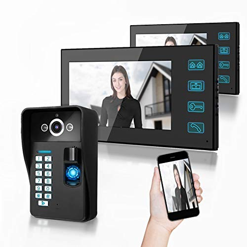Immagine di 7in kit videocitofono bifamiliare 2 fili, Smart Fingerprint/RFID/Password Doorbell, Citcom Doorbell with 2 Monitor, Wired Campell Access System for Home Security(EU)