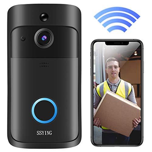 Immagine di Videocitofono WiFi, Campanello Senza Fili da Esterno HD IP66 Impermeabile Campanello Wireless Video Visione Notturna e App di Promemoria di Rilevamento del Movimento PIR per iOS, Android