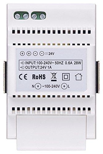 Immagine di Vimar 40103 Alimentatore per Videocitofono con Uscita 24 V, Alimentazione 100-240 V~ 50/60 Hz, Installazione su Guida DIN (60715 Th35), 3 Moduli, Bianco