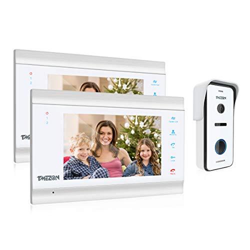 Immagine di TMEZON videocitofono HD 1080P 7 Pollici 4 fili Visivo Door Phone,2*Monitor LCD Touch screen 1*Campanello Telecamera Esterna Vista Notturna,Registrazione/Istantanea,Audio Bidirezionale,IP65