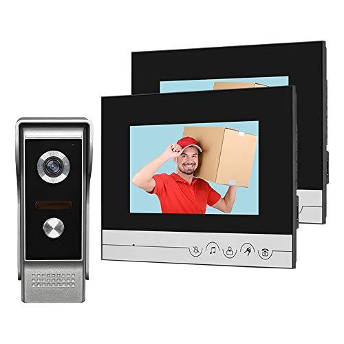 Immagine di HFeng Sistema videocitofonico 2 monitor Videocitofono 7 pollici Clear Display per campanello per la casa Videocamera Night Vision Max a 100 metri