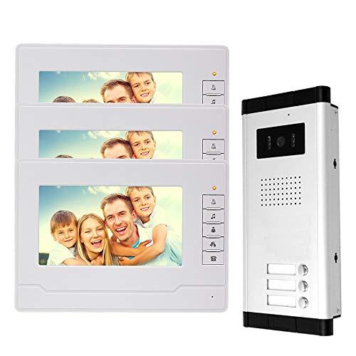 Immagine di NN99 Videocitofono sistema Campanello video 3 monitors con la fotocamera Visione notturna IR per la casa 3 appartamenti
