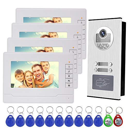 Immagine di NN99 Videocitofono campanello citofono Kit sistema 7 pollici chiaro display RFID accesso telecamera citofono, IR visione notturna, handfree, max a 100 metri (1 Camera + 4 Screens)