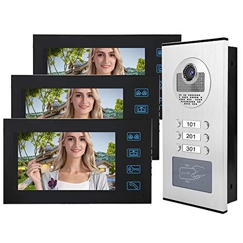 Immagine di Videocitofono da 7 pollici, videocitofono wireless videocitofono a 2 vie, campanello con videocamera impermeabile con 3 monitor, videocitofono con scheda RFID(EU110-240V)