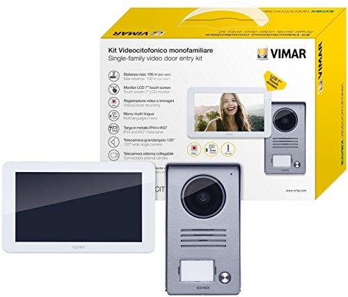 Immagine di Vimar K40915 Kit Videocitofono Touch Screen Monofamiliare con Alimentatore Multispina, Grigio la Targa Esterna-Bianco Il Monitor