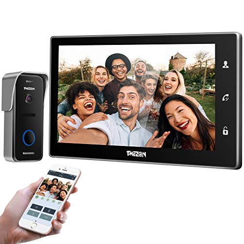 Immagine di TMEZON IP Videocitofono Intercom nero,10 pollici IP wifi Monitor Citofoni Touch Screen,720P Campanello Telecamera cablata Visore notturno,conversazione/visualizzazione,smartphone Sblocco remoto