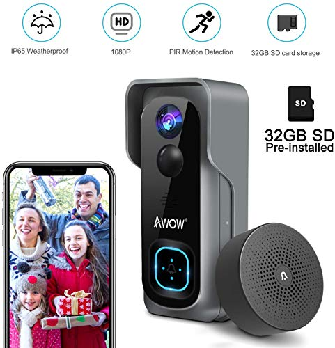 Immagine di AWOW Videocitofono Wifi Senza Filli, Campanello Smart 1080P HD, IP65 Impermeabile, Visione Notturna, Audio a 2 Vie, Campo Visivo 166°, PIR Motion Detection